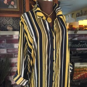 CATHERINES Striped Long Sleeve Button Down Blouse